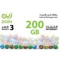 زين - بطاقة شحن الانترنت 200 جيجا لمدة ثلاثة شهور