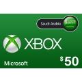 بطاقة مايكروسوفت إكس بوكس لايف -- 50 دولار (المتجر السعودي)