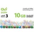 زين - بطاقة شحن الانترنت 10 جيجا لمدة ثلاثة شهور